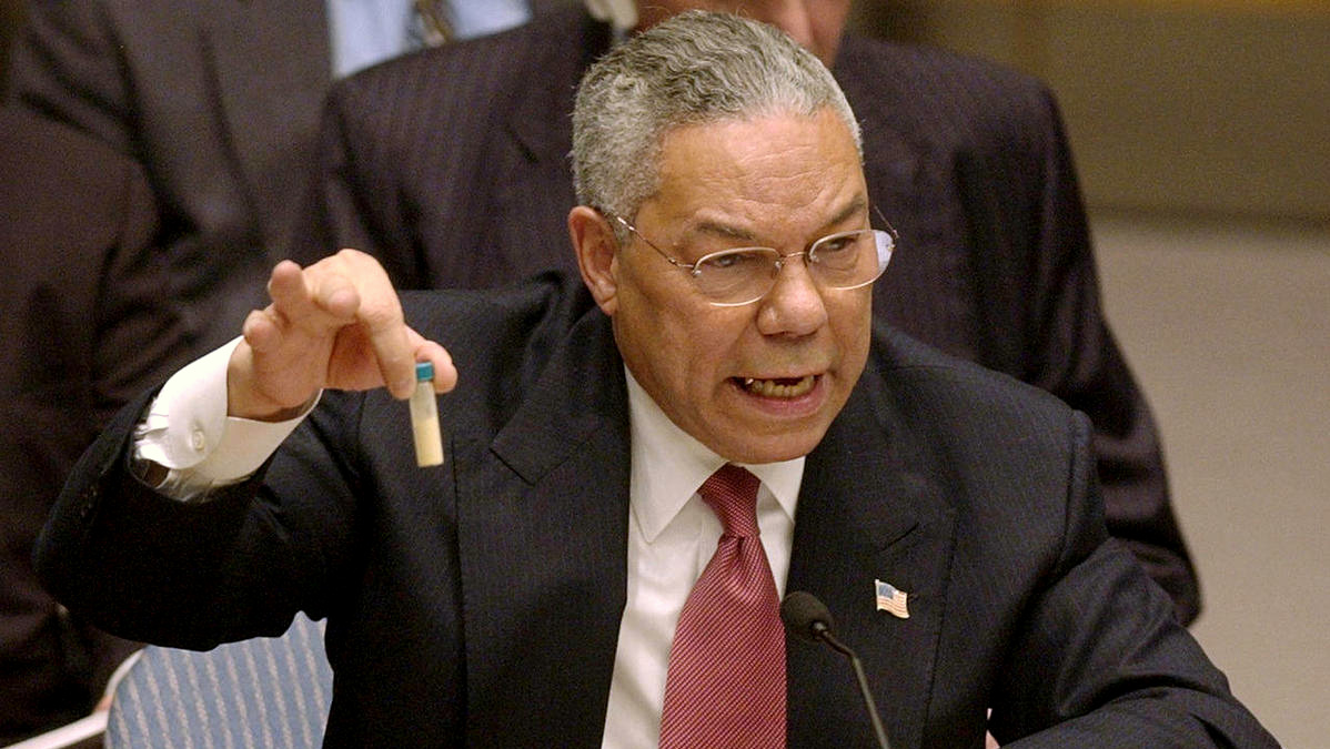 Colin Powell holds up a vial he said could contain anthrax as he presents evidence of Iraq's alleged weapons programs to the United Nations Security Council in this Feb. 5, 2003 file photo. (Photo: AP/Elise Amendola)