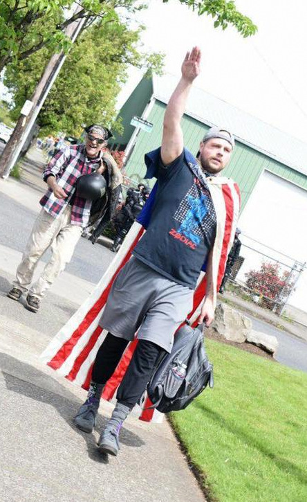 """Christian appeared at a """"March for Free Speech"""" rally in Portland on April 29. In a post before the event, he wrote: """"Looking for a couple guys or gals down to unmask anyone wear a mask at the upcoming Free Speech March On Saturday 415 80th Ave Portland. This goes for Antifa and Free Speeches. Let's keep them honest and check their Yard Card Homies...."""""""