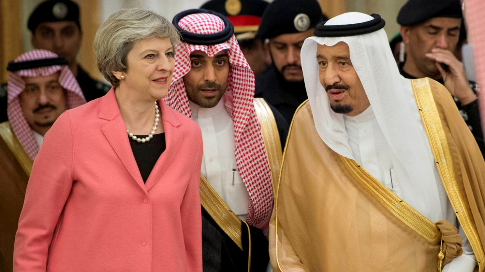 Saudi King Salman, right, receives British Prime Minister Theresa May, in Riyadh, Saudi Arabia, Wednesday, April 5, 2017. (AP Photo)