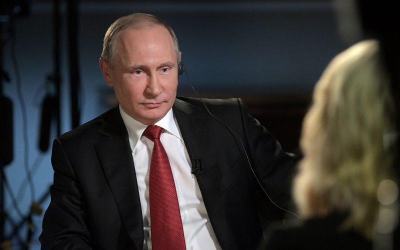 "President Vladimir Putin in an interview with NBC's ""Sunday Night with Megyn Kelly"" in St. Petersburg, Russia . (Alexei Druzhinin/Sputnik)"