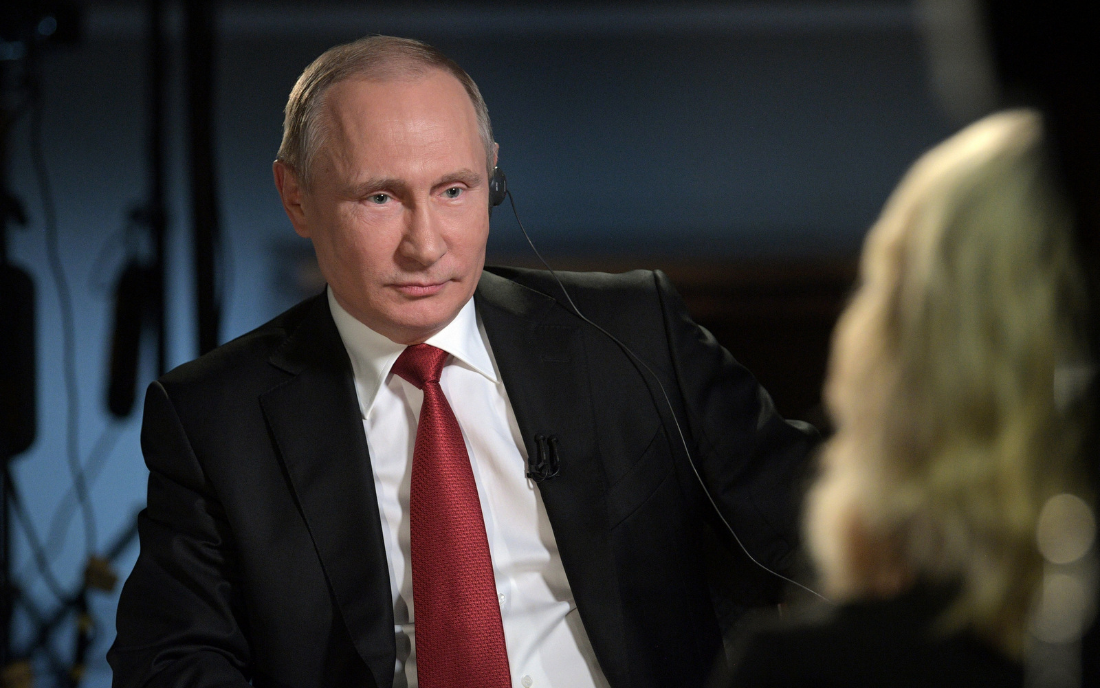 "President Vladimir Putin in an interview with NBC's ""Sunday Night with Megyn Kelly"" in St. Petersburg, Russia . (Alexei Druzhinin/Sputnik)"
