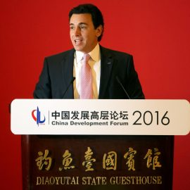 Ford CEO Mark Fields speaks during the opening ceremony of the China Development Forum at the Diaoyutai State Guesthouse in Beijing, (AP/Mark Schiefelbein)
