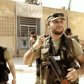 Mahdi al-Harati, former commander of the Tripoli Brigade during the Libyan Civil War, is seen here fighting in Syria as commander of Liwaa Al-Umma, a designated terrorist group fighting the Syrian government.