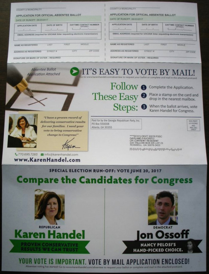 A flyer was sent by the Handel campaign encouraging mail-in voting among supporters.
