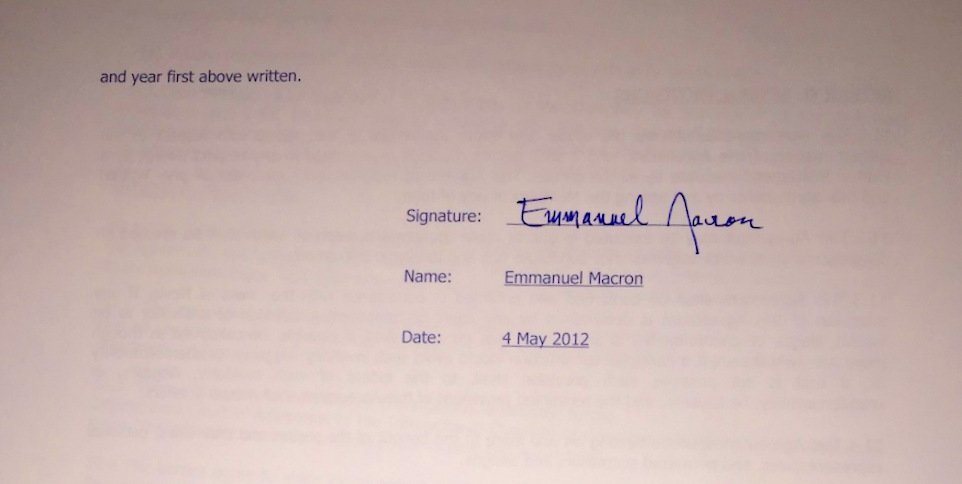 A screenshot of  the alleged Macron signature on a hacked operating agreement (Photo: Zerohedge)