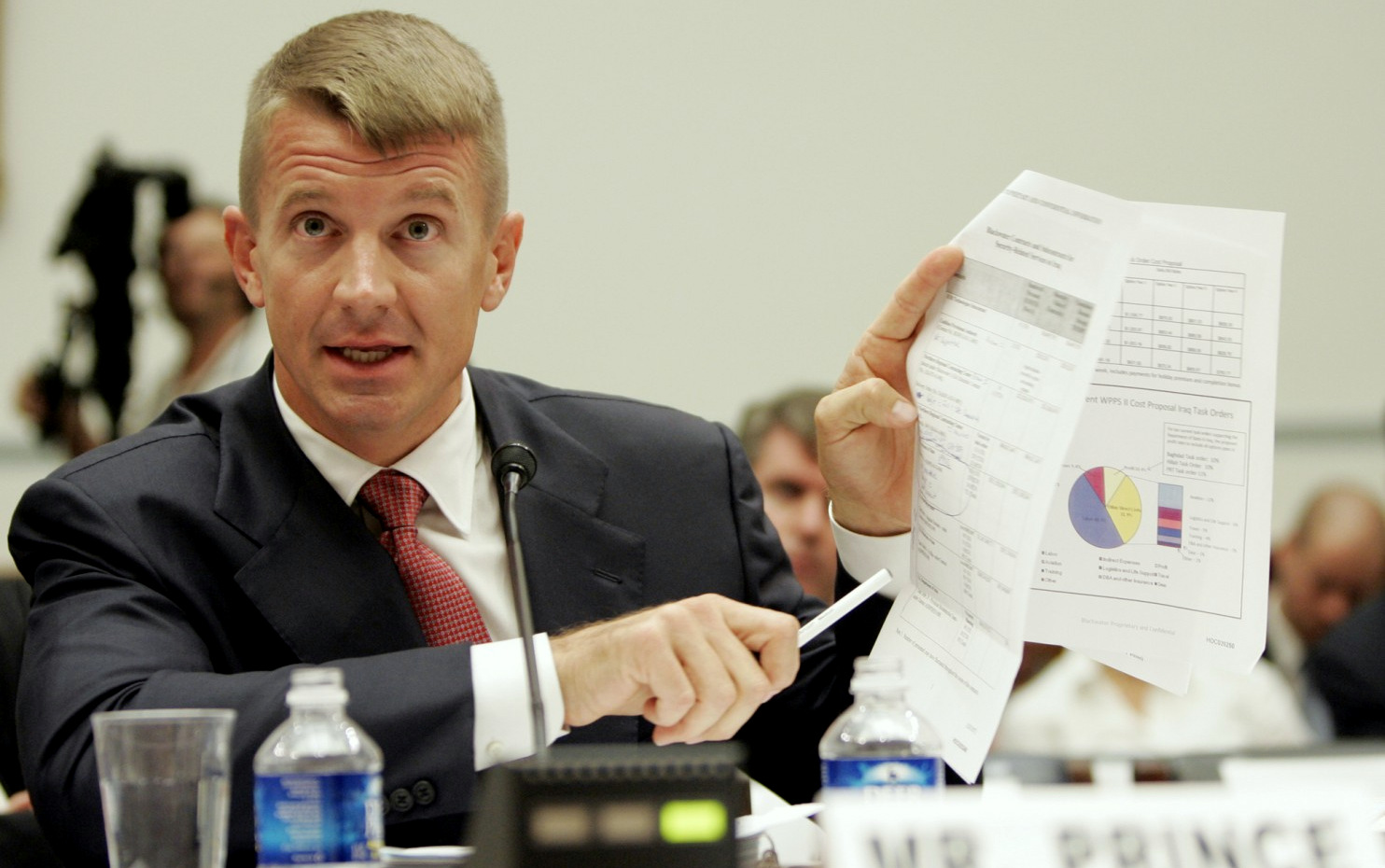Blackwater founder Erik Prince testifies before a House committee examining the mission and performance of  private military contractors in Iraq and Afghanistan, Oct. 2, 2007. (Susan Walsh/AP)