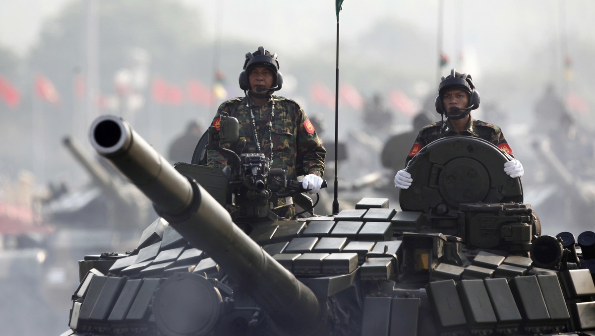 Myanmar military armed-tanks are driven during a parade to commemorate the Myanmar's 72nd Armed Forces Day in Naypyitaw, Myanmar, March 27, 2017. (AP/Aung Shine Oo)