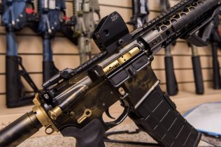 In this photo taken March 15, 2017, an AR-15 style rifle manufactured by Battle Rifle Co. is display in Webster, Texas. (AP/Lisa Marie Pane)