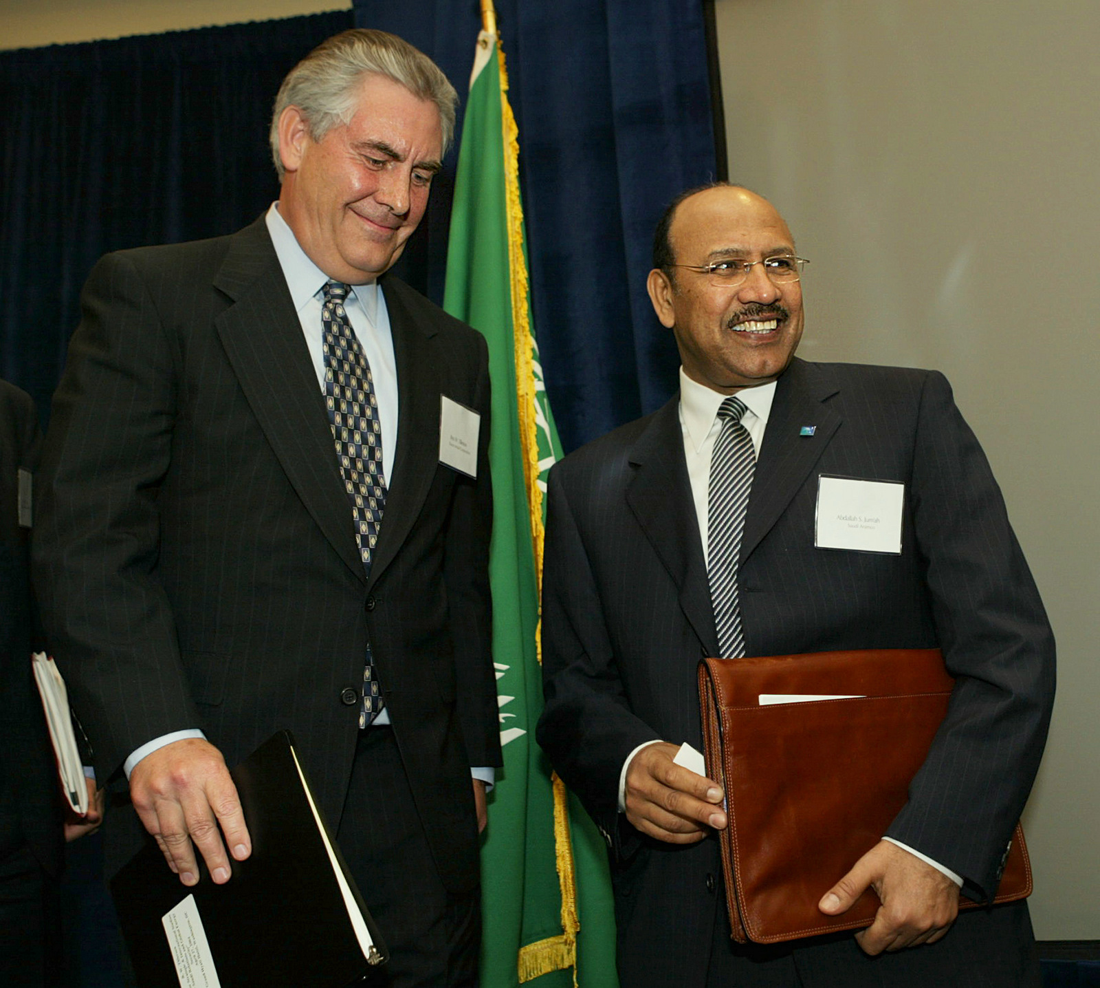 Saudi Aramco President and CEO Abdallah S. Jum'ah, right and Exxon Mobil Corporation President Rex Tillerson, attend a forum on U.S.-Saudi Relations and Global Energy Security, Tuesday, April 27, 2004, in Washington. (AP/Manuel Balce Ceneta)
