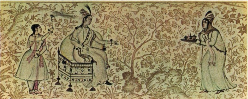 "Padishah Hatun is attended by two women as she reclines on a throne in a peach orchard. Hatun ruled in the ancient Muslim state of Kutluk in what is now Iran. (Illustration from Dr. Bahriye Üçok's ""Female Sovereigns in Islamic States."")"