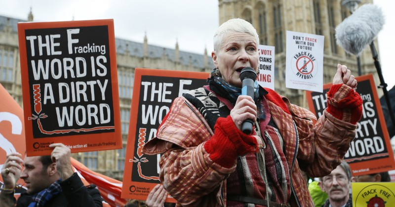 British fashion designer Vivienne Westwood speaks at an anti-fracking protest outside the Palace of Westminster in London, Monday, Jan. 26, 2015. Lawmakers are due to debate a bill that would halt fracking in Britain, after the all party Environmental Audit  Committee said it had 'huge uncertainties'  about the impact of fracking on the environment. (AP Photo/Alastair Grant)