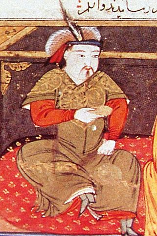 A 14th-century illustration of Hulagu Khan by Persian historian Rashid al-Din. Hulagu sits on a red carpet in royal clothes and a feathered cap.