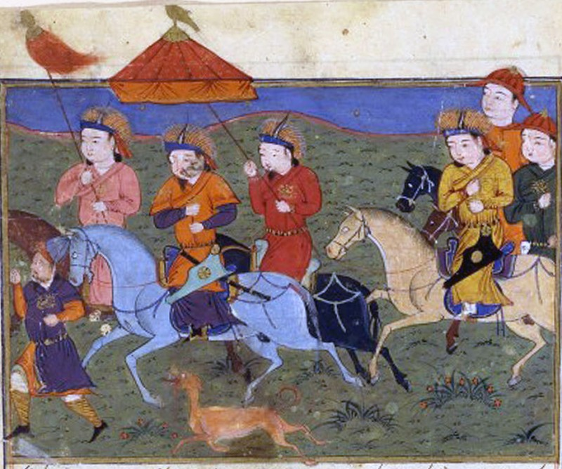 A painting of Hulagu Khan by Persian historian Rashid al-Din. Hulagu Khan rides on horseback with his mounted army, accompanied by a hunting dog and footmen. (Wikimedia / Bibliothèque nationale de France).