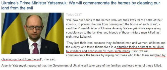 Screenshot from Ukrainian embassy website. Yatsenyuk makes his case for ethnic cleansing in the east.
