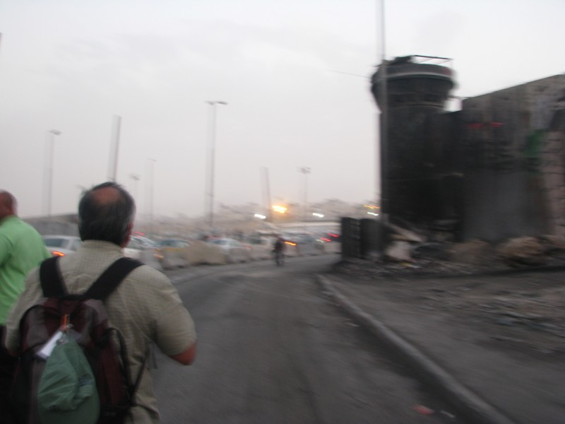 Peter Crowley's group approaches Qalandia checkpoint on foot. (Peter Crowley)