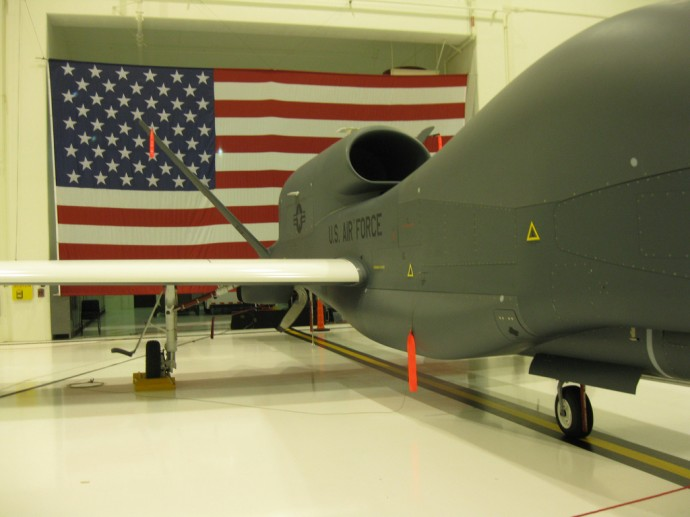 A Global Hawk UAV, similar to the one used in an airstrike on Pakistani homes on Feb. 9, 2011 (Photo by Burt Lum)