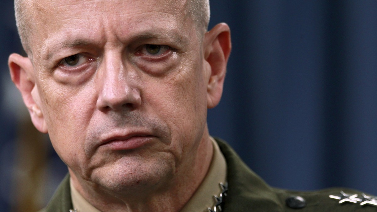 FILE- In this March 26, 2012, file photo, Marine Gen. John Allen, the top U.S. commander in Afghanistan listens during a news conference at the Pentagon in Washington. The Afghan government says it has reached a deal with the U.S. to govern controversial night raids by American forces. (AP Photo/Haraz N. Ghanbari, File)