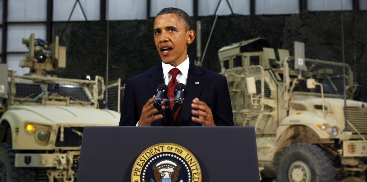 President Barack Obama delivers a speech from Bagram Air Field, Afghanistan, Tuesday, May 2, 2012. (AP Photo/Kevin Lamarque, Pool)