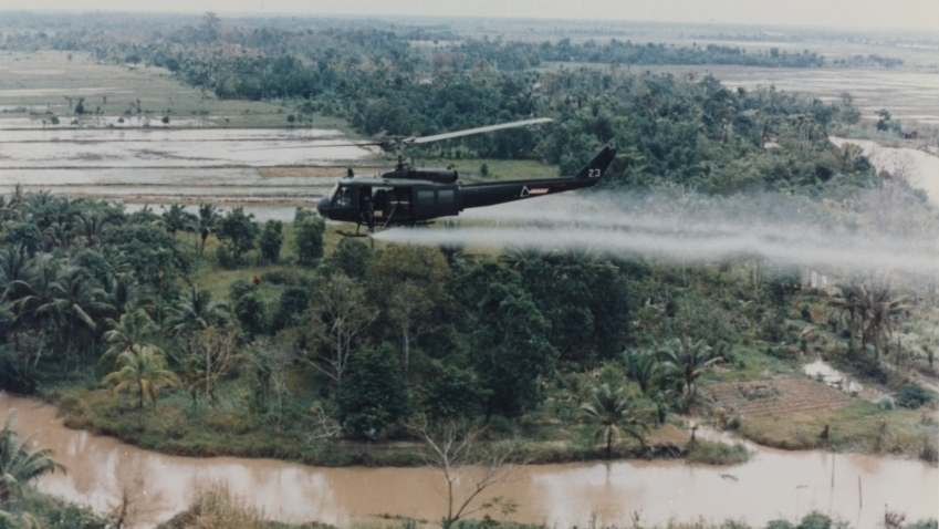 U.S. Huey helicopter spraying Agent Orange over Vietnam. (Photo by the U.S. Army Operations in Vietnam R.W. Trewyn, Ph.D.)