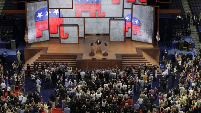 The Republican National Convention in Tampa, Fla., on Monday, Aug. 27, 2012. (AP Photo/David Goldman)