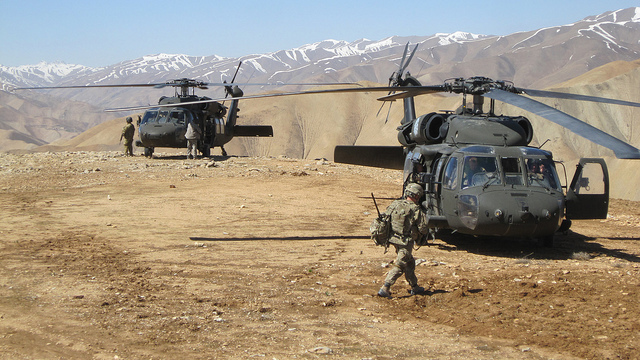 Black Hawk military helicopters in Afghanistan, April 2011. (Photo/U.S. Army Corps of Engineers via Flickr)