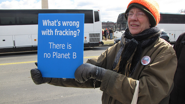 An advocate against fracking at the Forward on Climate political rally and march held in Washington DC on February 17, 2013. (Photo/Ben Schumin via Flickr)