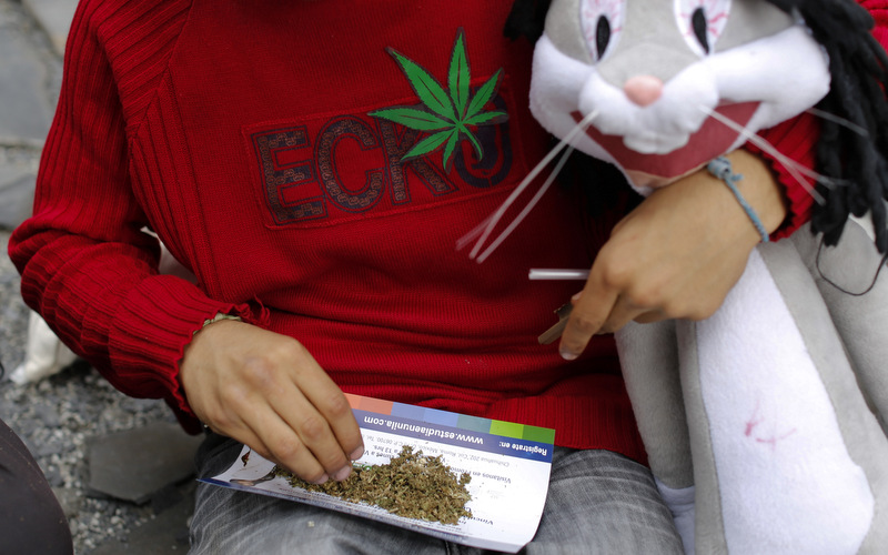 A young man prepares a marijuana joint while holding a Bugs Bunny stuffed animal during a small gathering to demand the legalization of marijuana in Mexico City, (AP Photo/Dario Lopez-Mills)