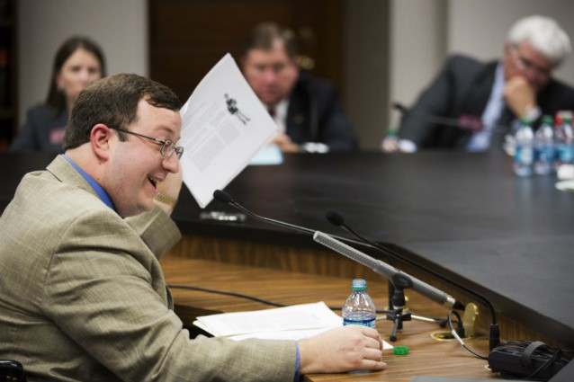 "Georgia State Sen. Josh McKoon (R) defends his ""religious freedom"" bill to a House committee. CREDIT: AP Photo/David Goldman"