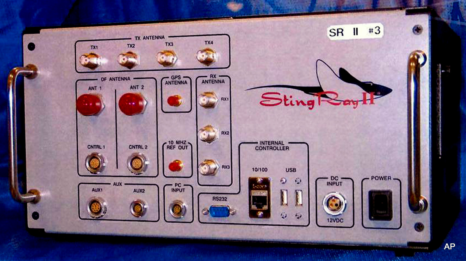 This undated handout photo provided by the U.S. Patent and Trademark Office shows the StingRay II, manufactured by Harris Corporation, of Melbourne, Fla., a cellular site simulator used for surveillance purposes. A police officer testified Wednesday, April 8, 2015, that the Baltimore Police Department has used Hailstorm, a upgraded version of the StringRay surveillance device, 4,300 times and believes it is under orders by the U.S. government to withhold evidence from criminal trials and ignore subpoenas in cases where the device is used.