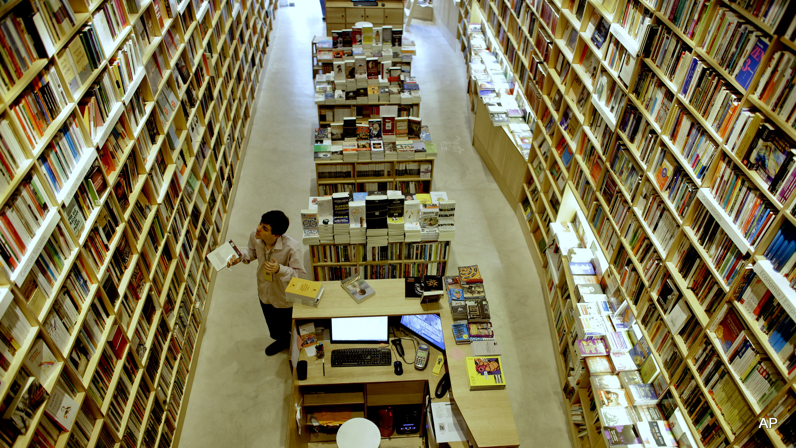 An employee works at a bookstore in Buenos Aires, Argentina