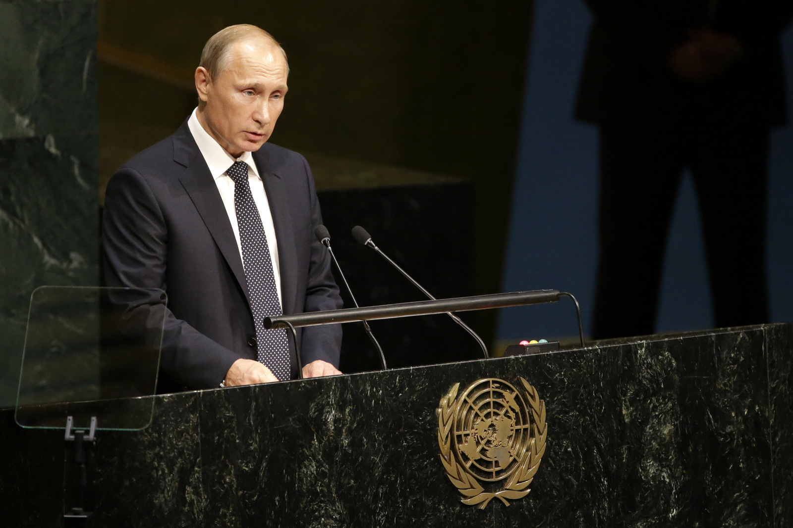 Russian President President Vladimir Putin addresses the 70th session of the United Nations General Assembly at U.N. headquarters, Monday, Sept. 28, 2015. (AP Photo/Mary Altaffer)