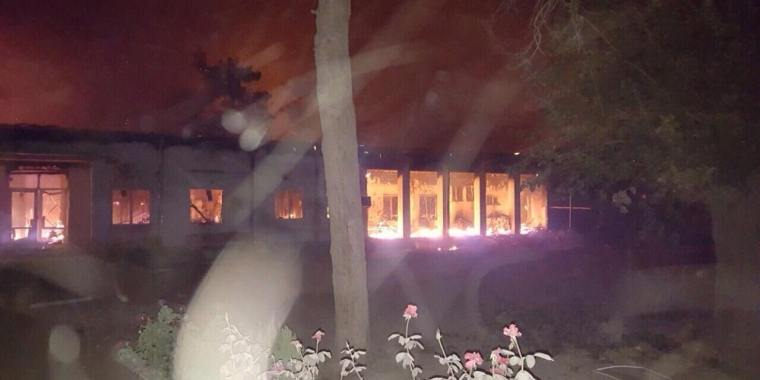 Fires burn in the MSF emergency trauma hospital in Kunduz, Afghanistan, after it was hit and partially destroyed by aerial attacks on October 3, 2015.