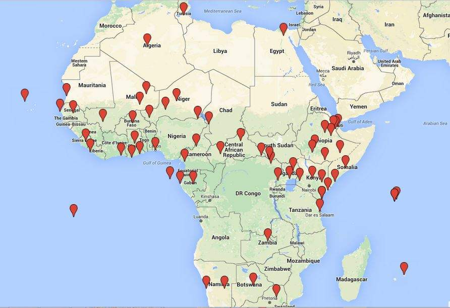 U.S. military outposts, port facilities, and other areas of access in Africa, 2002-2015 (Nick Turse/TomDispatch, 2015)