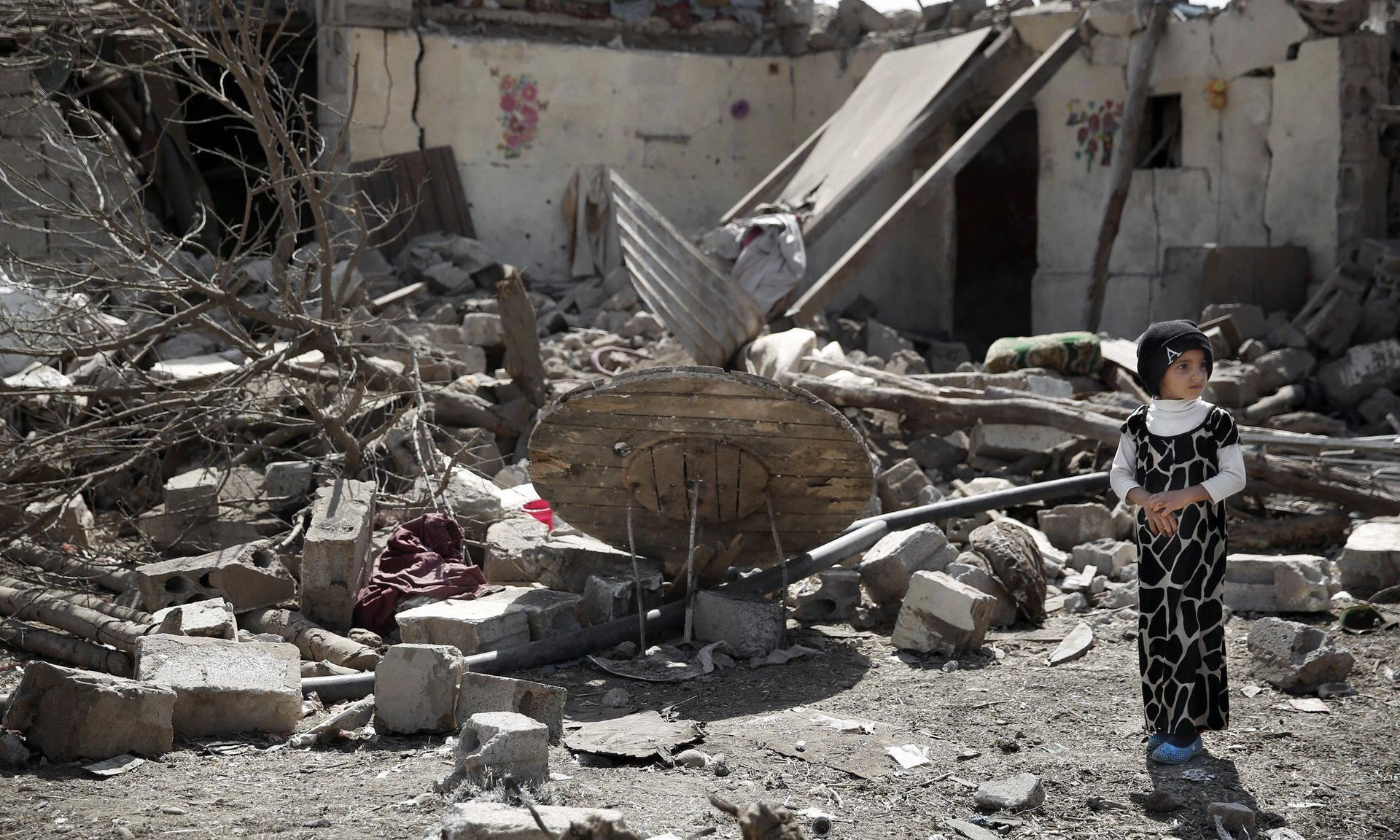 The remains of a house destroyed by a Saudi-led airstrike in Yemen's capital on Thursday. Photograph: Hani Mohammed/AP