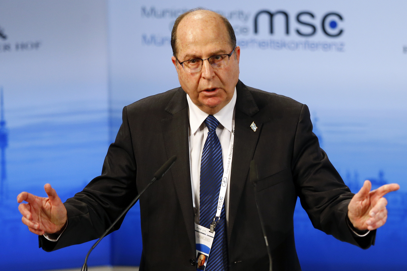 Moshe Yaalon, Defence Minister of Israel, gestures during his speech at the Security Conference in Munich, Germany, Sunday, Feb. 14, 2016. (AP Photo/Matthias Schrader)