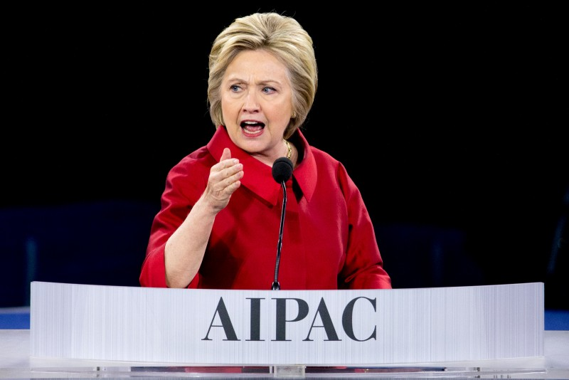Democratic presidential candidate Hillary Clinton speaks at the 2016 American Israel Public Affairs Committee (AIPAC) Policy Conference, March 21, 2016, at the Verizon Center in Washington. (AP Photo/Andrew Harnik)