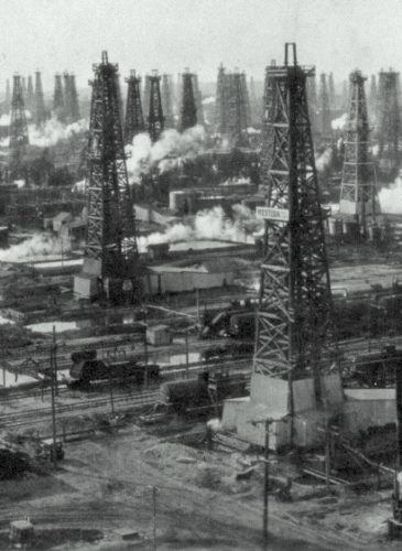 An oil field near Alabama and Clay streets in Huntington Beach, circa early 1920s. We have since cleaned up well(s). (Photo, City of Huntington Beach archives)