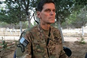 Army Gen. Joseph Votel speaks to reporters Saturday, May 21, 2016 during a secret trip to Syria. Votel said he is encouraged by progress in building local Syrian Arab and Kurdish forces to fight the Islamic State.
