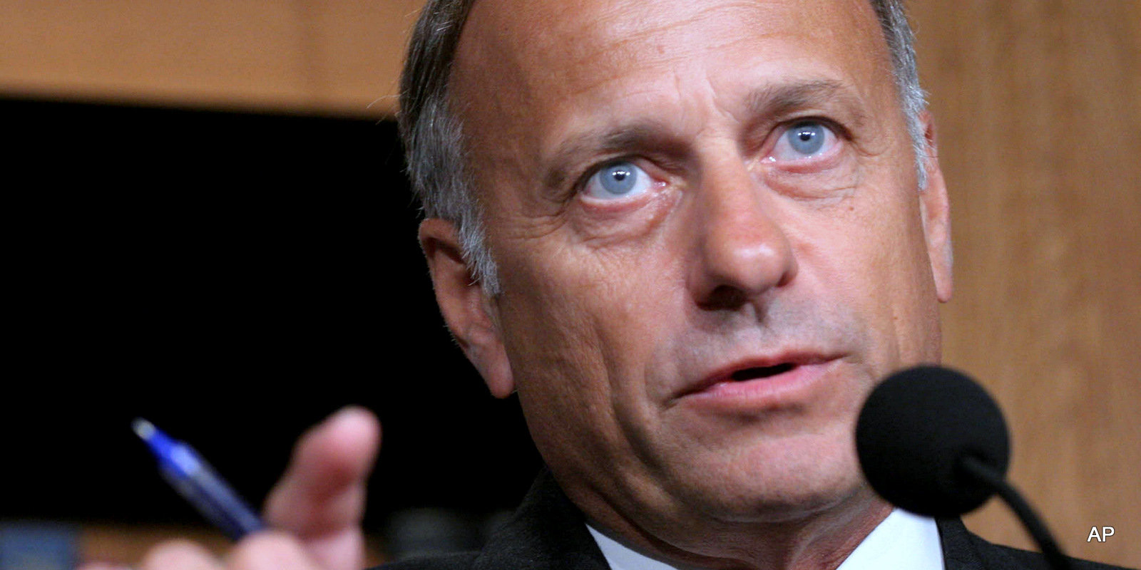 Rep. Steve King, R-Iowa, speaks to reporters on Capitol Hill in Washington.