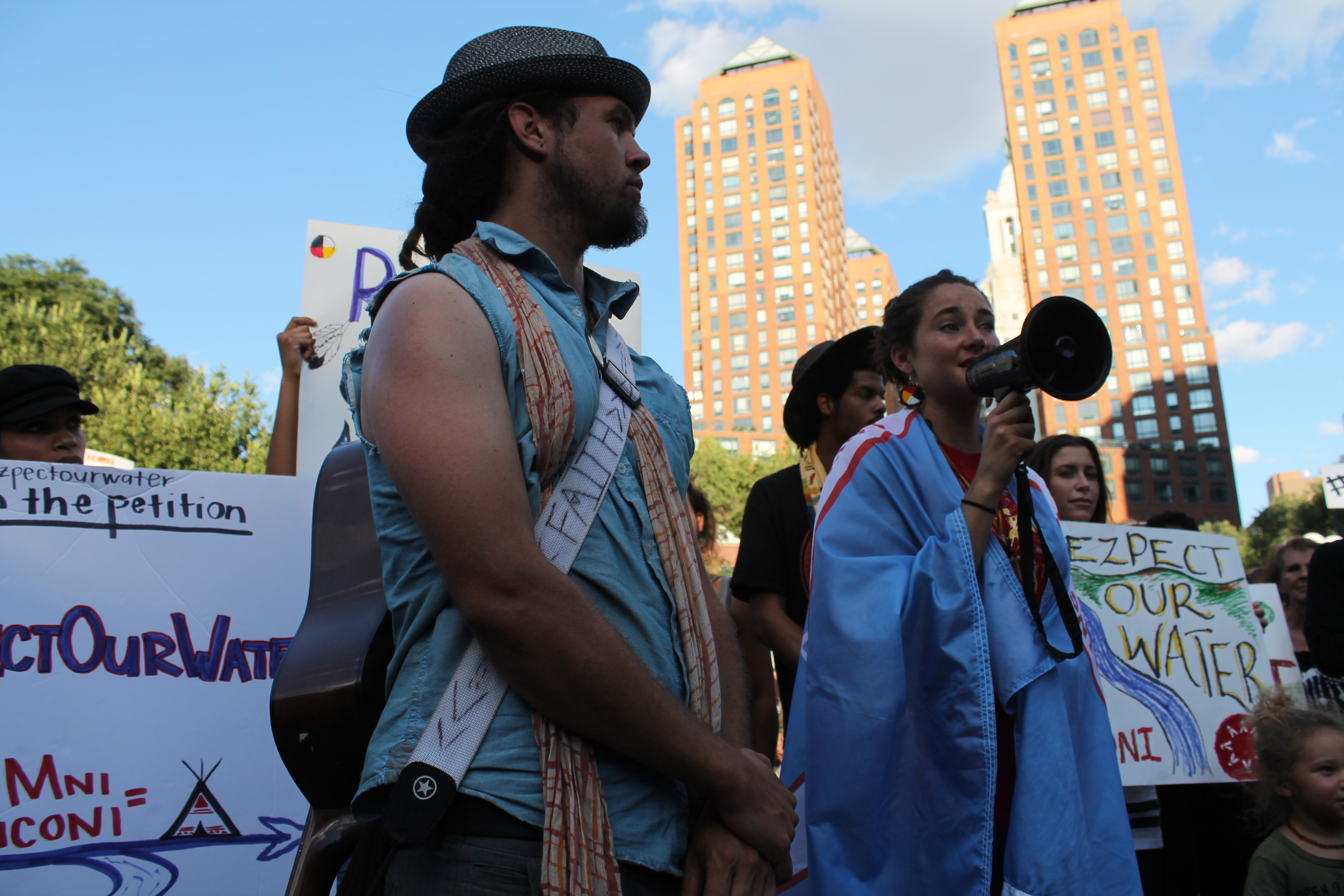 Activists in New York's Union Square rally in support of Native-Americans battling the controversial Dakota Access Pipeline.