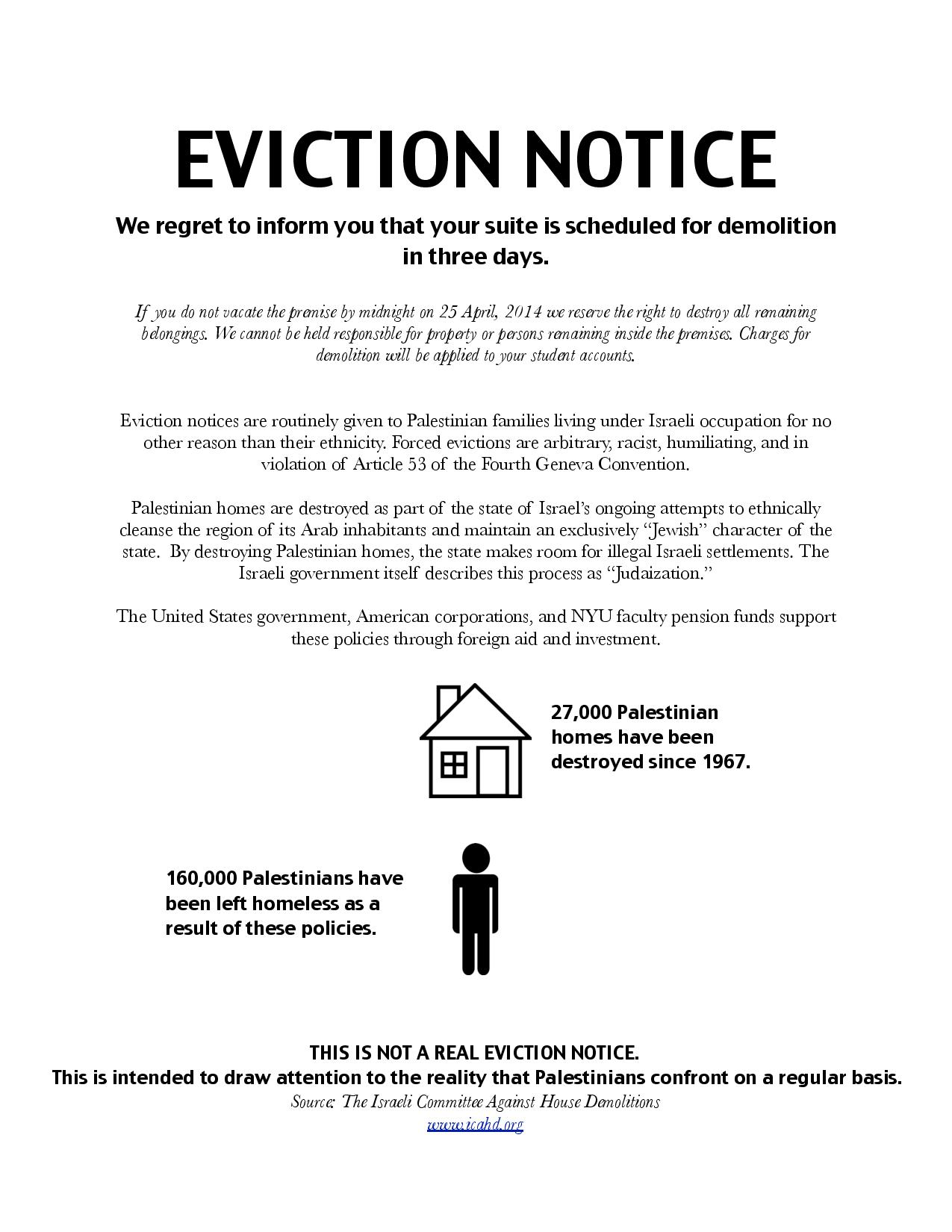 SJP eviction notice distributed in two NYU dormitories in late April, 2014.