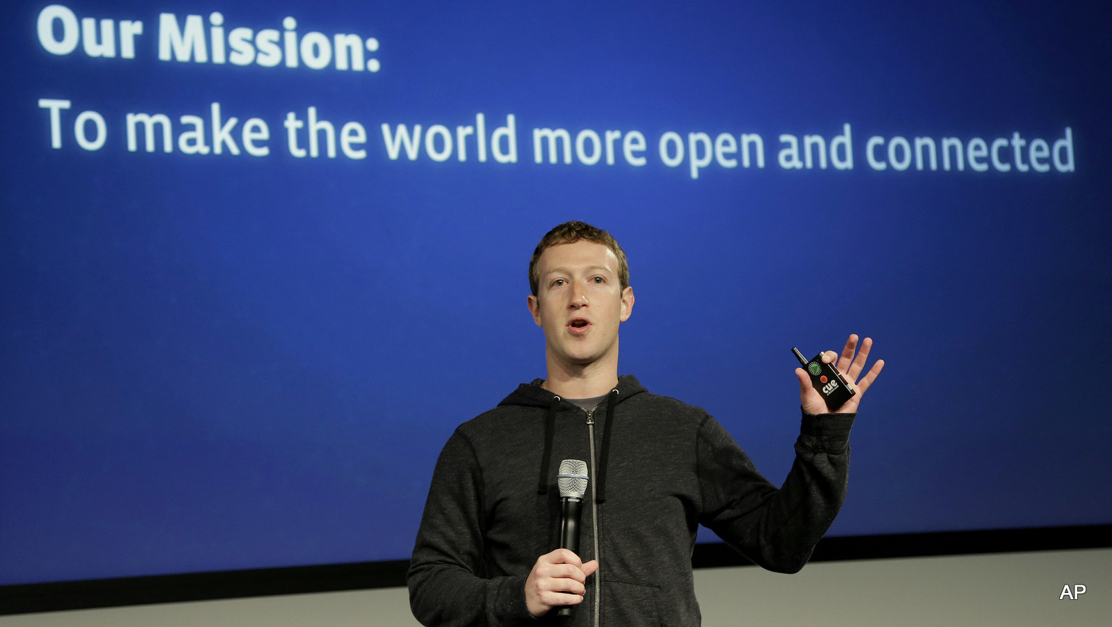 Facebook CEO Mark Zuckerberg speaks at the company's headquarters in Menlo Park, Calif. where Facebook Inc. announced a partnership called Internet.org on Wednesday, Aug. 21, 2013.