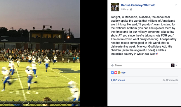 A high school sports announcer in Alabama suggested National Anthem protesters should be shot at by the military. (Facebook screenshot)