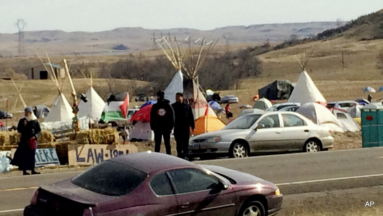 Teepees and numerous tents are set up Monday, Oct. 24, 2016, by Dakota Access oil pipeline protesters in southern North Dakota on property owned by the pipeline company in an attempt to halt construction of the controversial project.