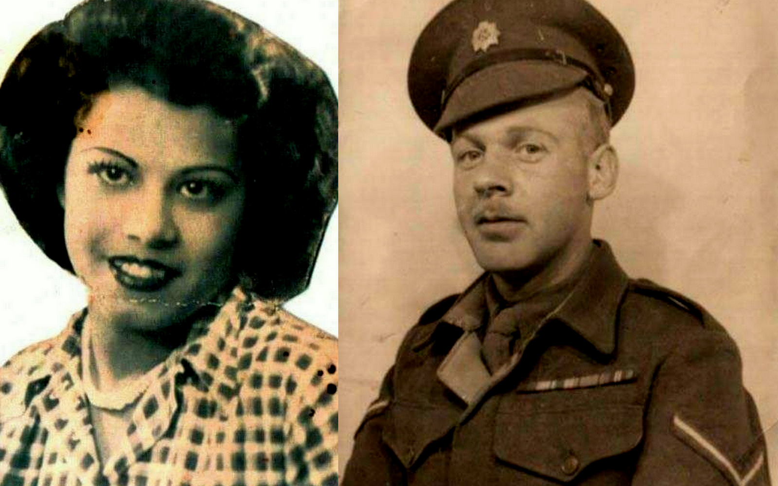 Batya Pearson, nee Nadaf, Julie Pearson's Yemenite Jewish grandmother. (pictured left) and James Pearson (pictured right), Julie Pearson's grandfather, a member of the British mandatory police in Palestine, circa 1946. The couple married in January 1946. (Photos provided by the Pearson family.)