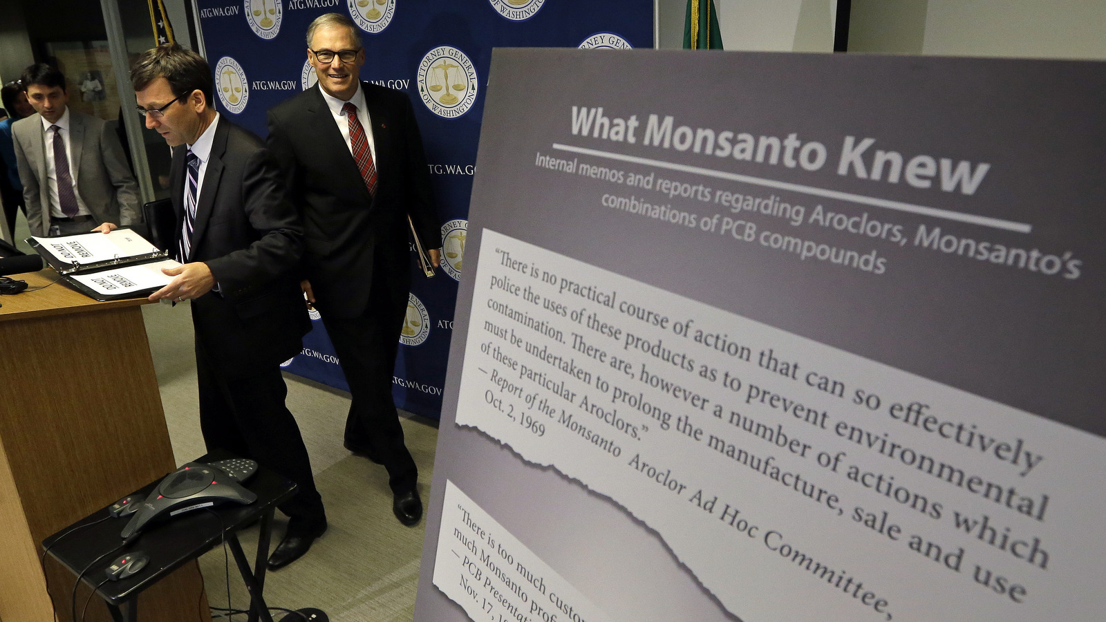 Washington says it's the first U.S. state to sue Monsanto over pollution from PCBs. The chemicals, polychlorinated biphenyls, were used in many industrial and commercial applications, including in paint, coolants, sealants and hydraulic fluids. PCB contamination impairs rivers, lakes and bays around the country.