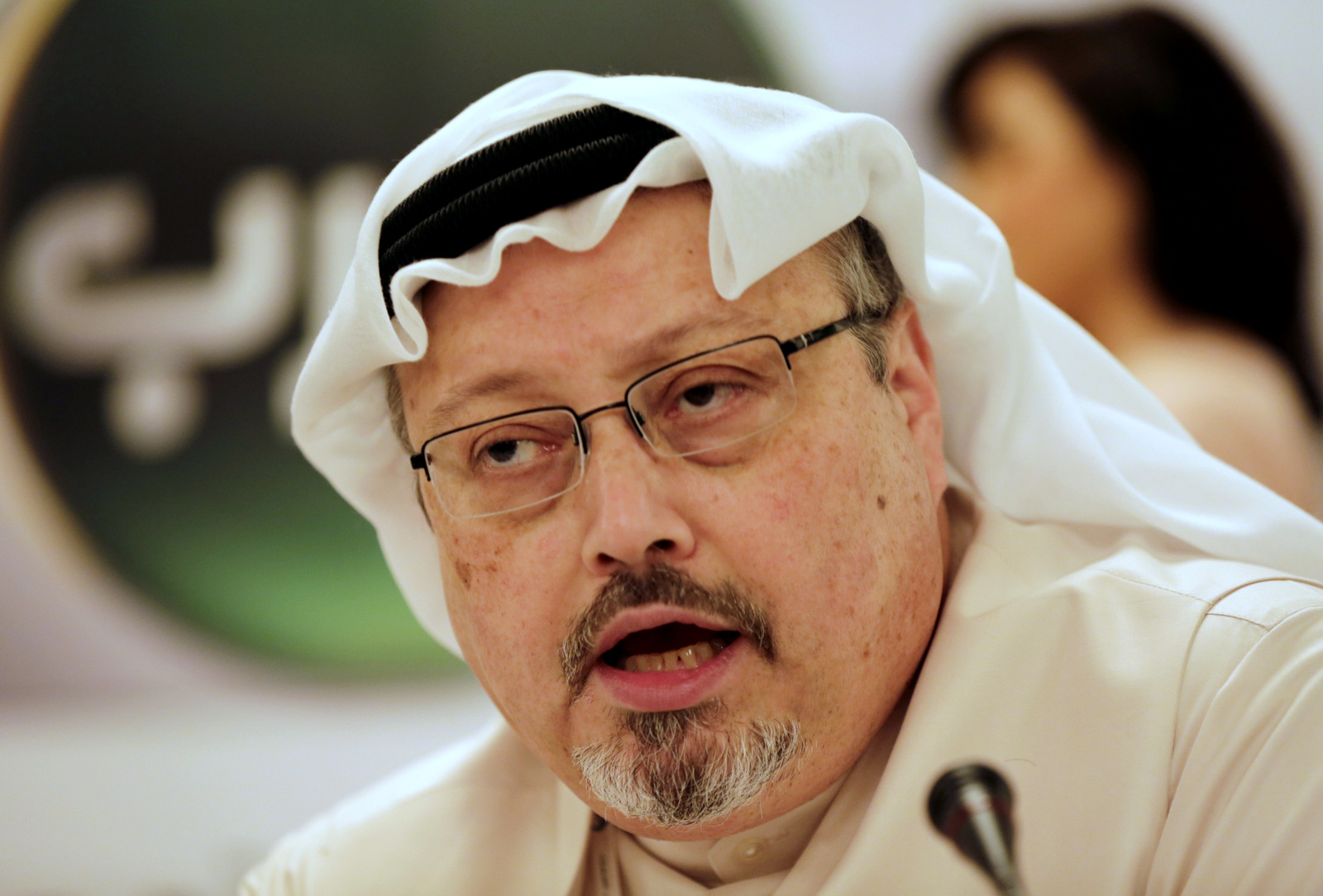 Jamal Khashoggi speaks during a press conference in Manama, Bahrain, Monday, Dec. 15, 2014. Khashoggi was recently banned from reporting by the Saudi government over his public criticism of Donald Trump. (AP Photo/Hasan Jamali)