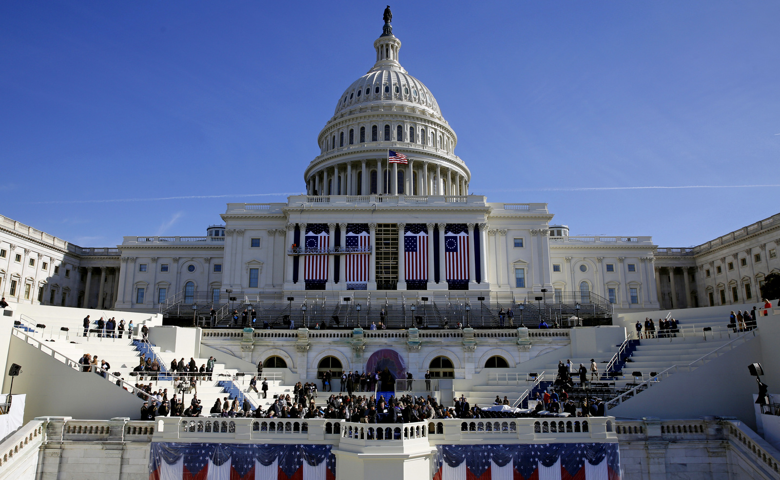 The U.S. Capitol looms over a stage during a rehearsal of President-elect Donald Trump's swearing-in ceremony, Sunday, Jan. 15, 2017, in Washington. (AP/Patrick Semansky)