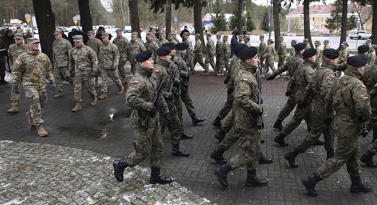 The official welcome ceremony for the US troops convoy in Zagan, Poland, Thursday, Jan. 12, 2017. (AP/Czarek Sokolowski)