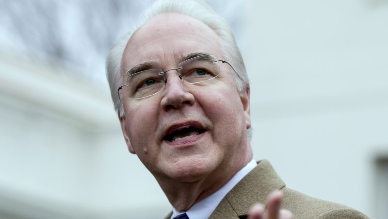 Health and Human Services Secretary Tom Price speaks outside the West Wing of the White House in Washington, Monday, March 13, 2017, after Congress' nonpartisan budget analysts reported that millions people would lose coverage next year under the House bill dismantling former President Barack Obama's health care law. (AP/Andrew Harnik)